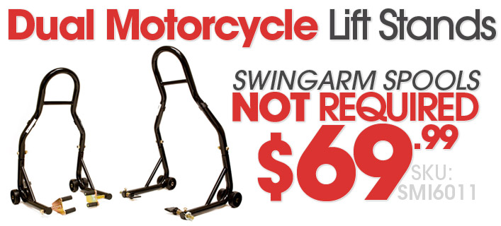 Dual Motorcycle Lift Stands, no spools needed